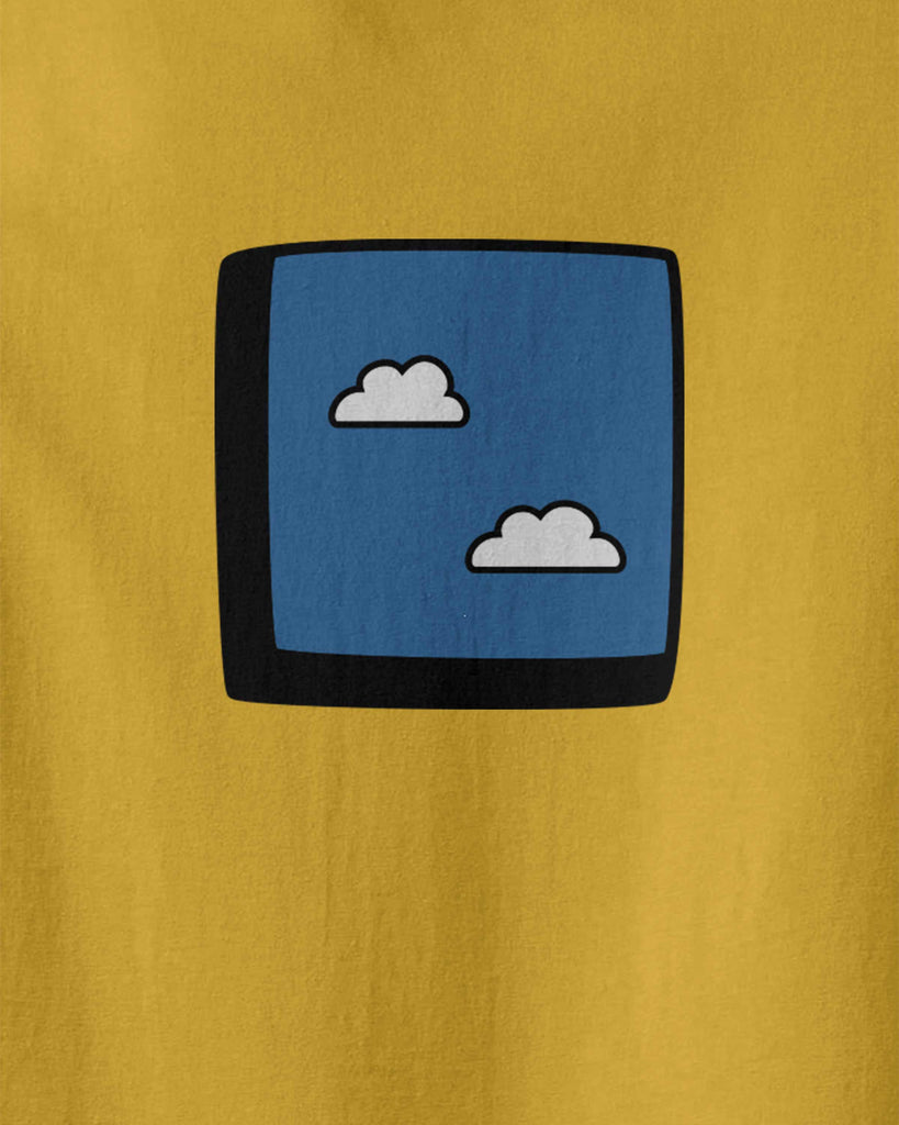 The graphic of a window to blue sky with clouds