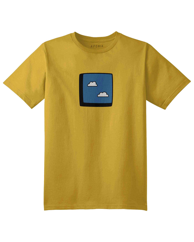 A yellow t shirt with the graphic of a window to blue sky with clouds