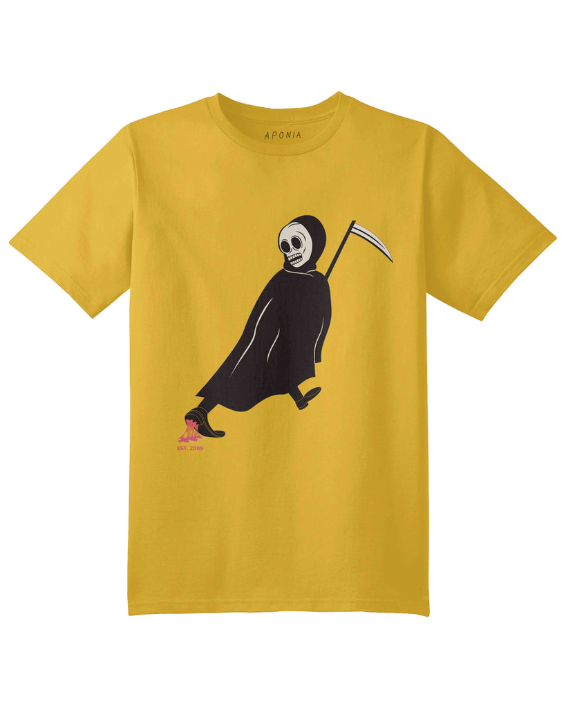 A yellow t shirt with graphic of death angel who has been stuck by Aponia Gum while walking