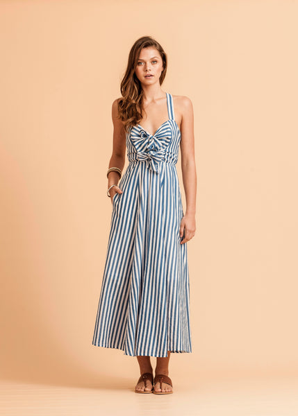 Gisele Tie Front Dress - Blue & White Stripe