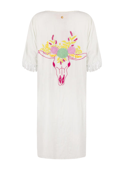 Embroidered Flower and Buffalo Dress