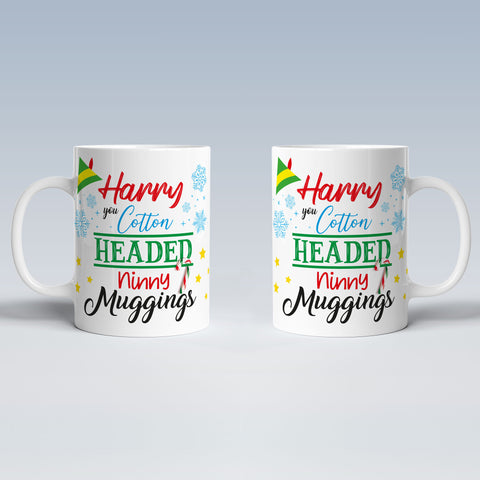 Product image for Elf Cotton Headed Personalised Christmas Mug
