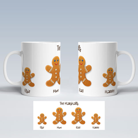 Product image of Gingerbread Family Personalised Christmas Mug