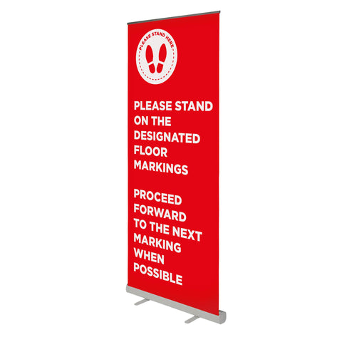 Please Stand on the Floor Markings - 850mm Wide Pull Up Banner