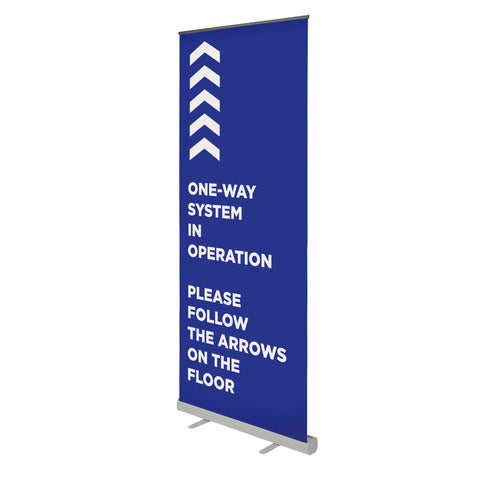 One-Way System in Operation - 850mm Wide Pull Up Banner