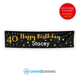 Black with Gold Stars PVC Birthday Banner - AB101