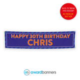 Blue Stripe PVC Birthday Banner - AB103