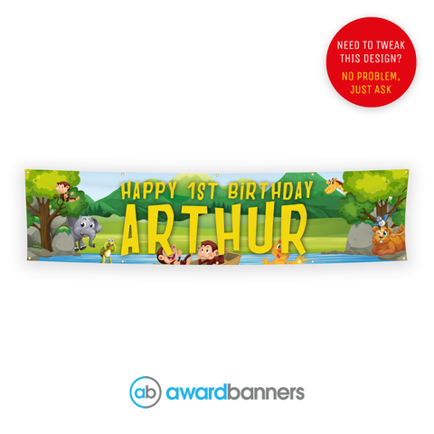 Jungle Scene PVC Birthday Banner - AB104