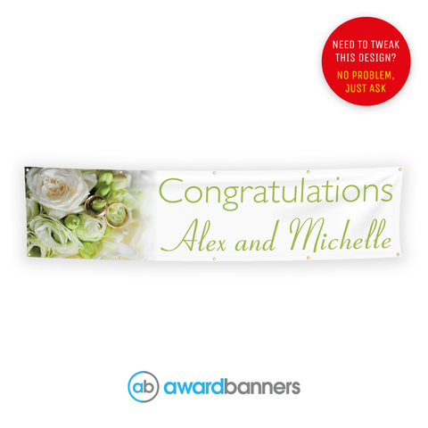 Flowers and Ring PVC Congratulations Banner - AB113