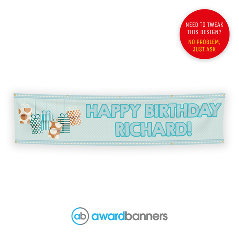 Blue Presents PVC Birthday Banner - AB115