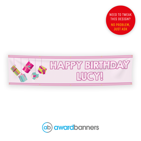 Pink Presents PVC Birthday Banner - AB116