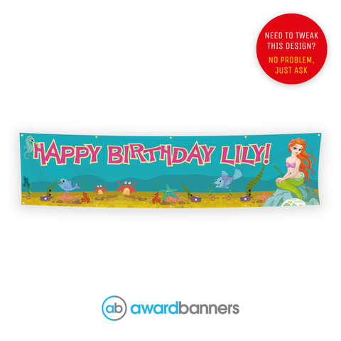 Little Mermaid PVC Birthday Banner - AB117