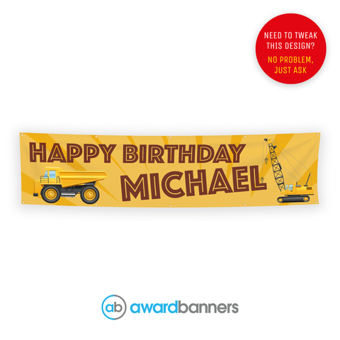 Construction PVC Birthday Banner - AB120