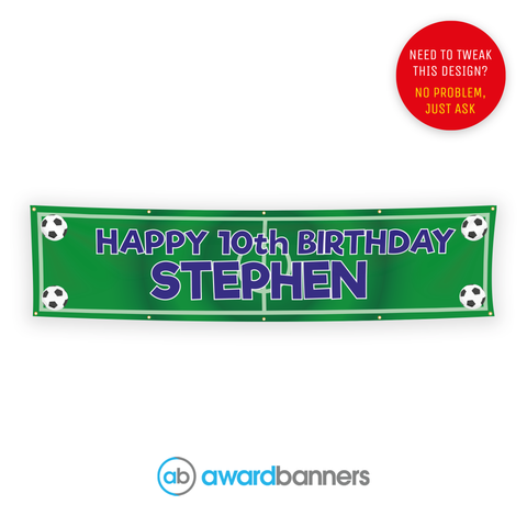 Football Pitch PVC Birthday Banner - AB127