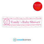 Personalised Pink Baby Shower PVC Banner - AB132