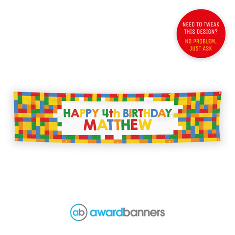 Building Blocks PVC Birthday Banner - AB133