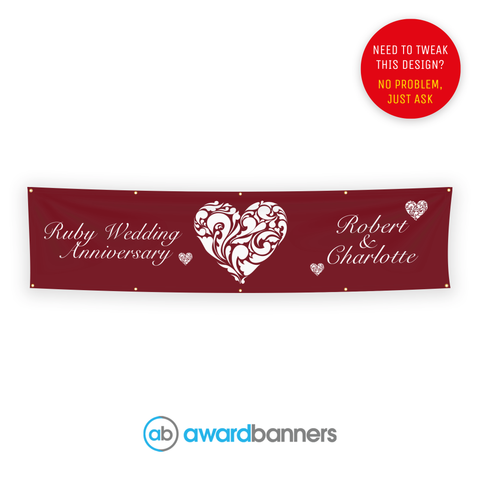 Ruby Wedding PVC Wedding Banner - AB136