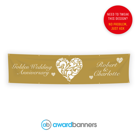 Golden Wedding PVC Wedding Banner - AB137