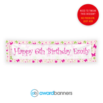 Red and Green Butterflies PVC Birthday Banner - AB159