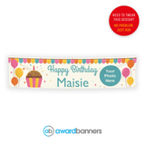 Cupcake and Balloons PVC Birthday Banner - AB185
