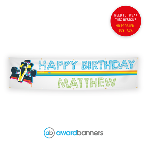 Racing Car PVC Birthday Banner - AB193