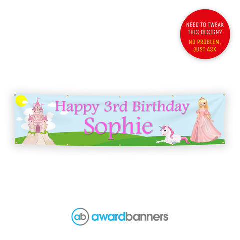 Princess PVC Birthday Banner - AB201