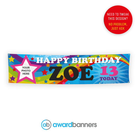 Rainbow PVC Birthday Banner - AB203