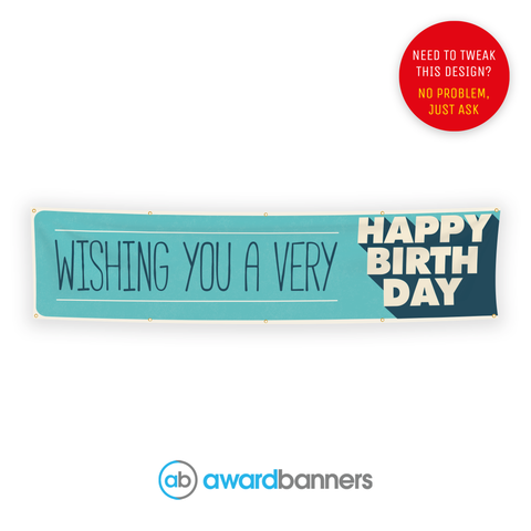 Blue Shadow PVC Birthday Banner - AB224
