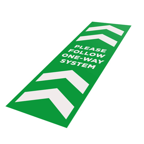 Please Follow One-Way System - 250mm x 800mm - Social Distancing Floor Graphic