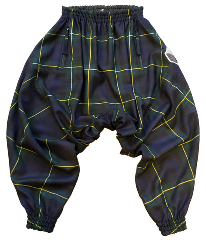 studio_805 tartan drop crotch joggers front view