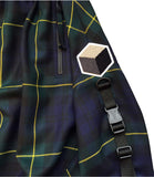 studio_805 tartan drop crotch shorts buckle detail