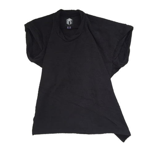 STUDIO_805 SAMPLE unisex black terry towelling twisted T-shirt front view