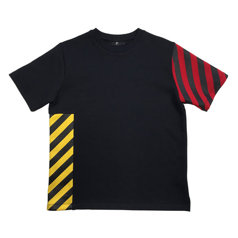 STUDIO_805 AW16 short-sleeve T-shirt in black sweatshirt with hazard stripes front view
