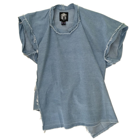 STUDIO_805 SAMPLE bleached blue denim twisted T-shirt front view