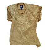STUDIO_805 SAMPLE unisex gold crushed velour twisted T-shirt front view