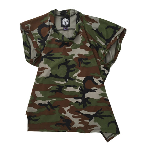 STUDIO_805 SAMPLE unisex camo print jersey twisted T-shirt front view