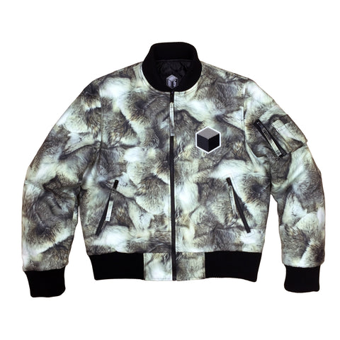 studio_805 wolf fur digital print bomber jacket