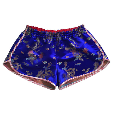Sukajan Souvenir jacket inspired royal blue satin micro shorts