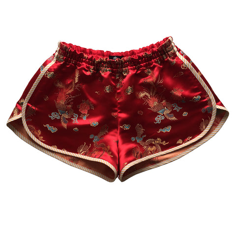 Sukajan Souvenir jacket inspired scarlet red satin short shorts