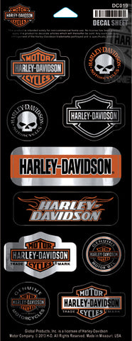 Genuine Harley Davidson Bar logo mini metalic sticker set