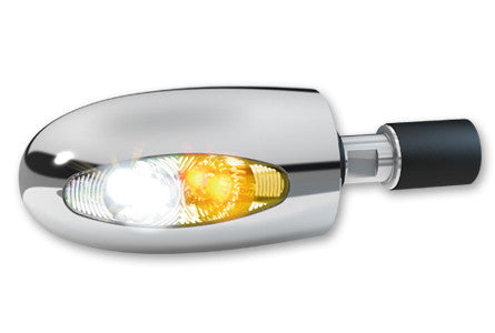 KELLERMANN BL 1000 PL LED-BAREND-TURN/POSITION LIGHT, CLEAR/CHROME, Cruiser Accessories - Fat Skeleton UK