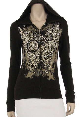 Angel Wings & Cruiser Zip up ladies hooded top, Womens Clothing - Fat Skeleton UK