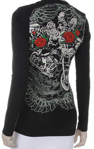 Harley, Wings & Red Roses Round Neck long sleeve top, Womens Clothing - Fat Skeleton UK