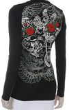Harley, Wings & Red Roses Round Neck long sleeve top