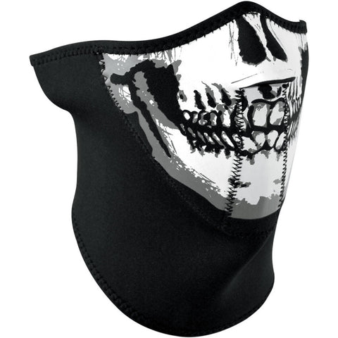 Longer Neck Half Face Skull Neoprene Mask, Face Masks - Fat Skeleton UK