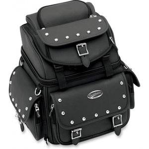 Saddlemen Back Seat / Sissy Bar Bag studded design, Motorcycle Accessories - Fat Skeleton UK