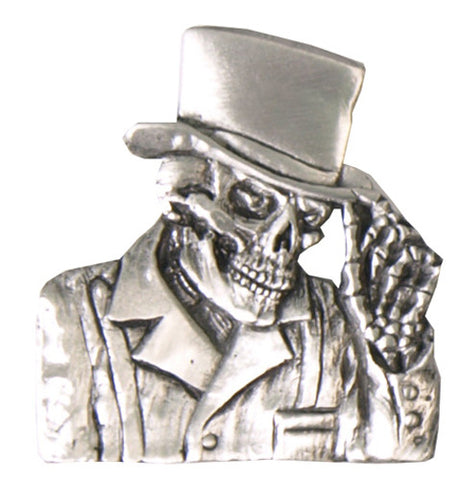 3D Top Hat & Skull Pewter Badge, Accessories - Fat Skeleton UK