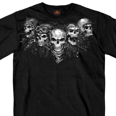 Hot Leathers Five Skulls Biker T Shirt, Mens Clothing - Fat Skeleton UK