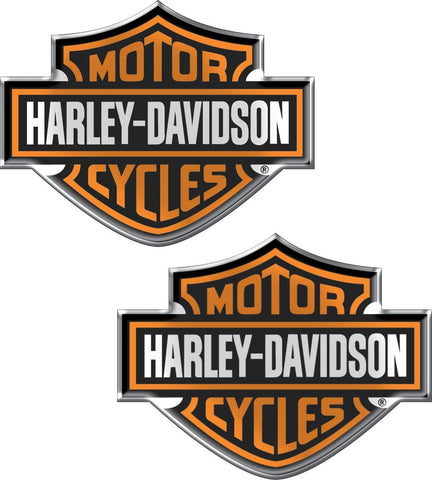 Pair Genuine Harley Davidson Bar & Shield 3D Dome Decal