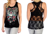 "Liberty Wear ""Devilish"" Skull Wing & Roses Lace Back Liberty Wear"
